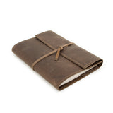 Writer's Log Large Refillable Dark Brown Leather Notebook