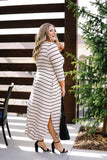 Oatmeal + Black Striped Maxi Dress