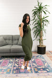 Olive Angled Hem T-Shirt Dress.