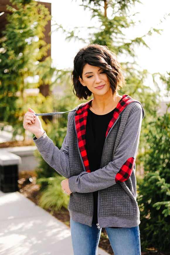 Quilted Comfort Plaid Contrast Hoodie