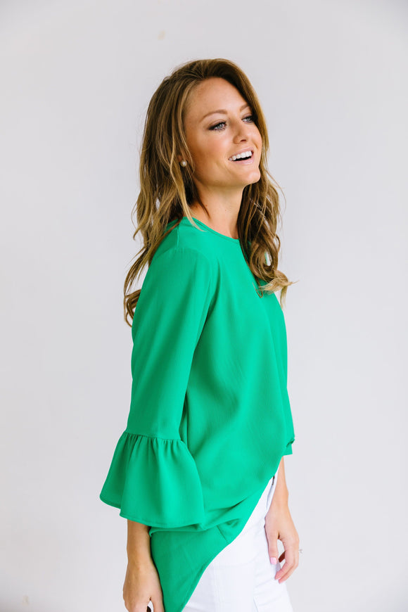 Trumpet Sleeve Blouse In Green - In house