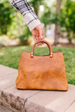 Vintage Wood Handled Satchel
