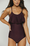 Wine Ruffle One Piece