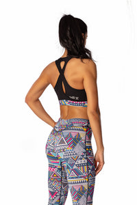 THE WOMEN'S LOCKER Aztec Bustiera sport sustinere ridicata