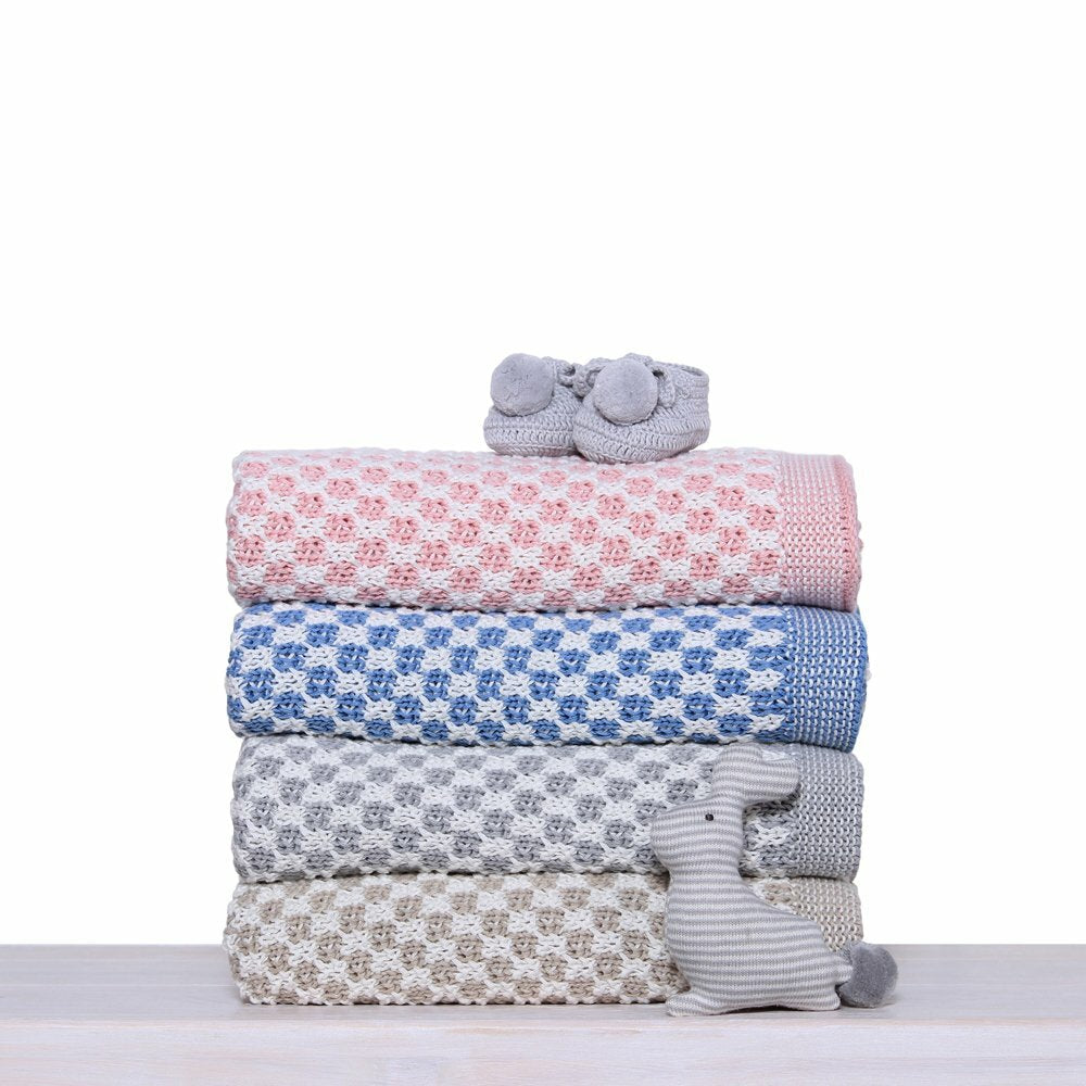 Knitted Cot Baby Blanket- Various colours