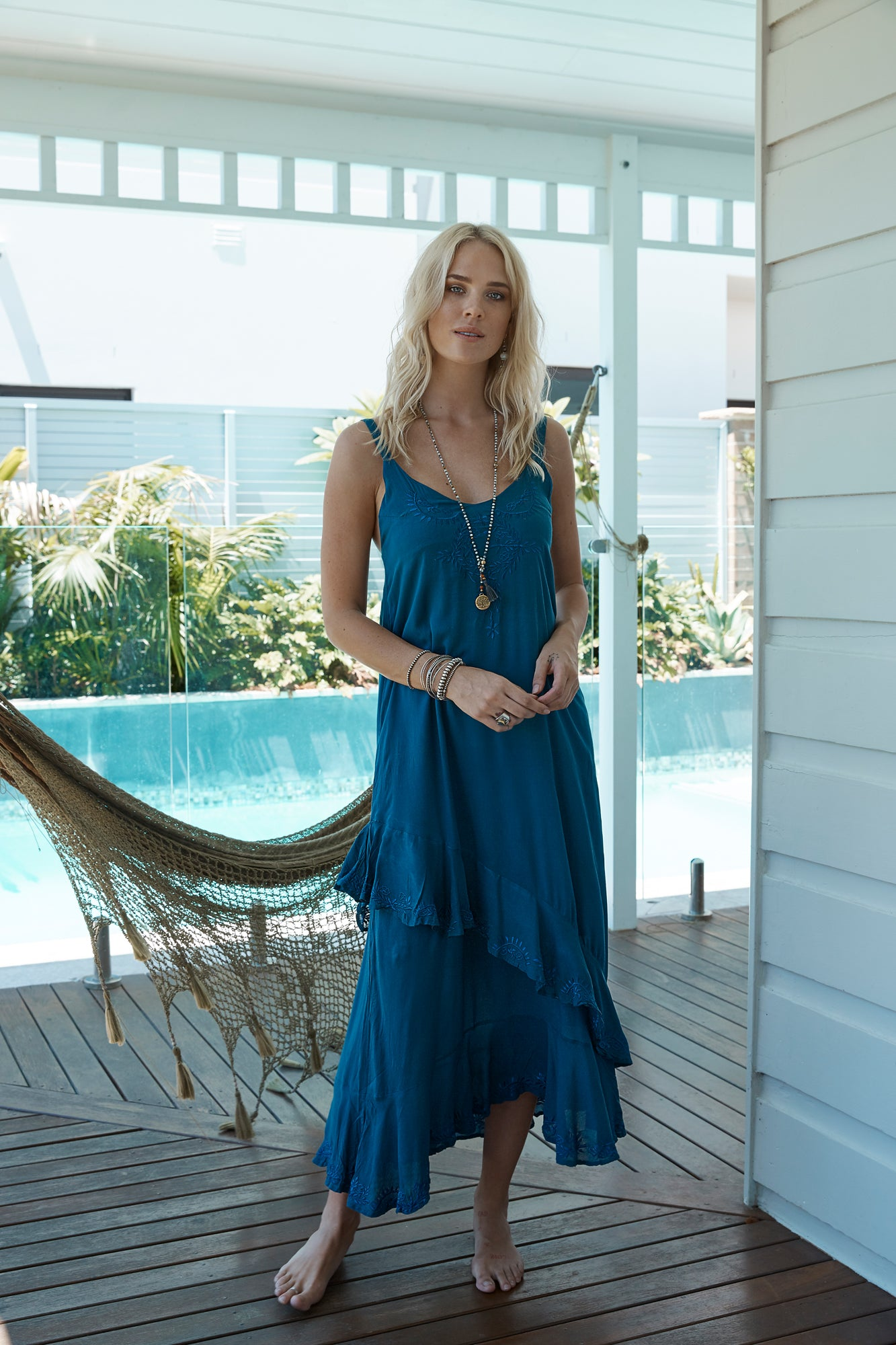Barbados Carmen Dress from Island Jade- Indigo M/L