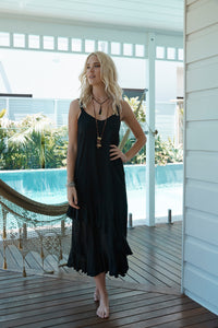 Barbados Carmen Dress from Island Jade- Black M/L
