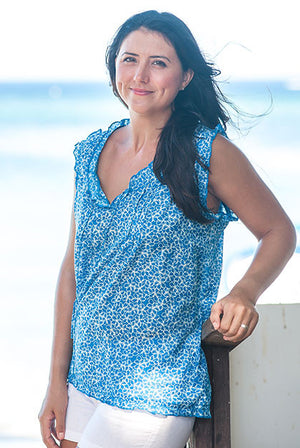 Plumeria Cotton Beach Top Blouse