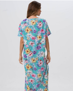 Aqua Floral Kaftan dress- LIMITED COLLECTION