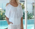 Barbados Fern top from Island Jade- White M/L