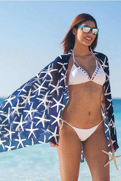 Starfish print Sarong- Pareo in Navy