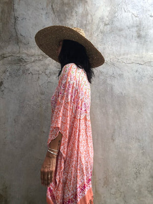 Salmon Printed Poncho or Coverup ( Sequinned) - LIMITED COLLECTION