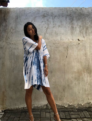 White & Blue Tie Dyed V Neck Kaftan- LIMITED EDITION