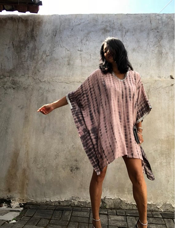 Rose Tie Dyed Kaftan ( Sequinned) LIMITED COLLECTION