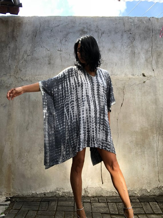 Silver Tie Dyed Kaftan (Sequinned) LIMITED COLLECTION