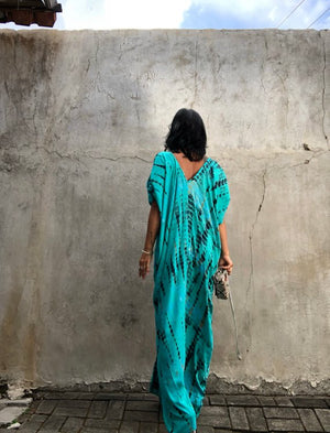 Deep Green Xtra LONG Open Shoulder Kaftan- LIMITED COLLECTION