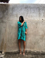 Deep Green Tie Dyed V neck Kaftan- LIMITED COLLECTION