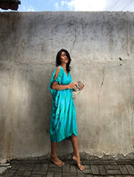 Open Shoulder Deep Green Tie Dye MIDI Kaftan - LIMITED EDITION
