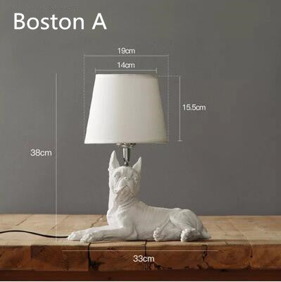 Dog Table Lamp available in Black or White (Corgi-Boston-Pug or Beagle)