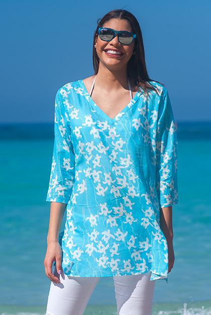 Turtles Cotton Tunic Beach Coverup
