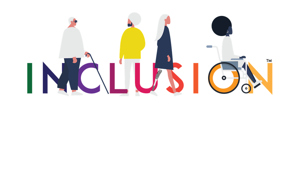 Uncomfortable Revolution Inclusion logo. The Inclusion logo spells the word INCLUSION in all caps in rainbow colors. There are four characters walking among the letters: one is a plus-sized woman wearing glasses and carrying a cane; the other is a young man in a turban; the other is a woman wearing a prosthetic leg; and the fourth character is a woman with an afro seated in a wheelchair.