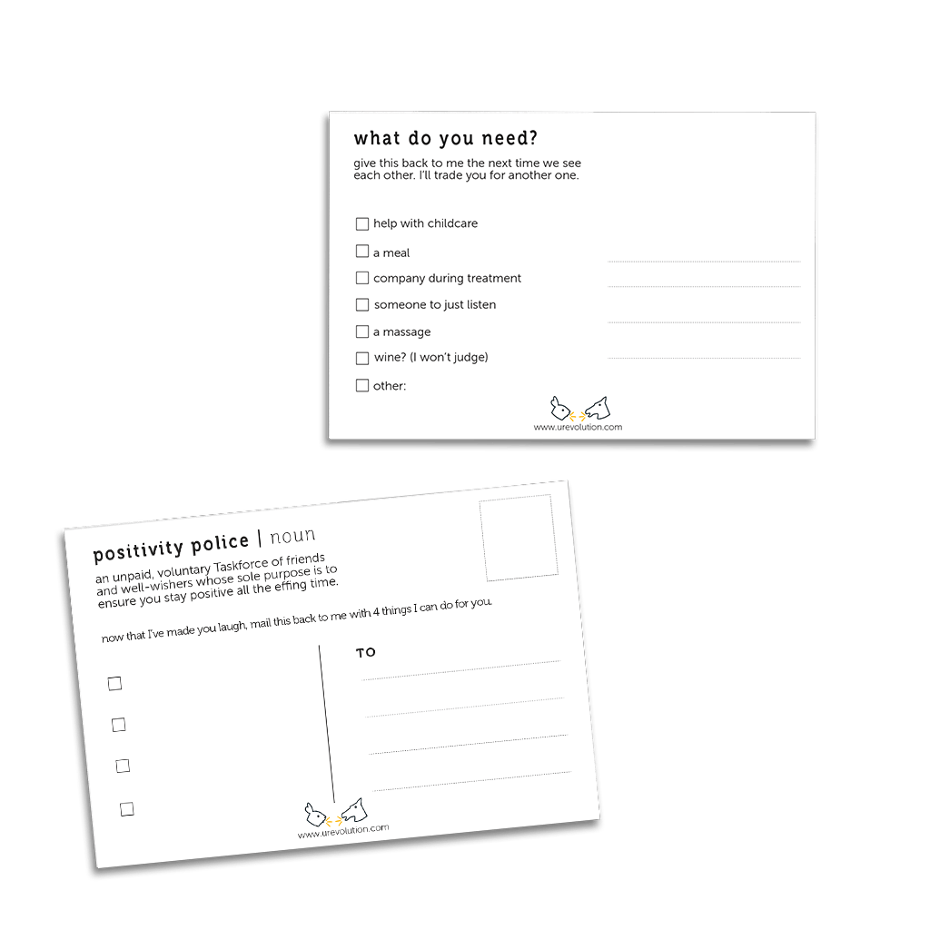 Uncomfortable Revolution Empathy Cards offer real help for friends who are ill. Sample of two cards shown on no background.