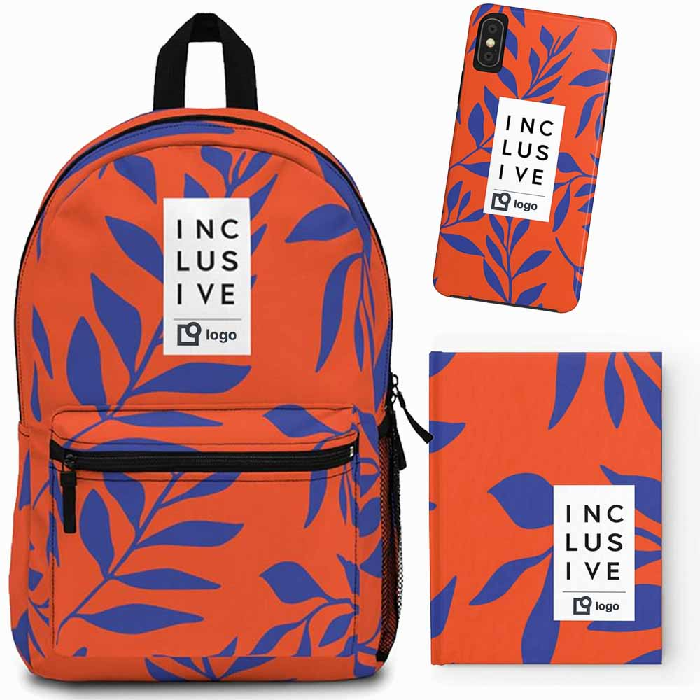 Photo of Uncomfortable Revolution Diversity and Inclusion Promotional Items Inclusive Logo - Photo of backpack, phone case and journal in UR Jungle Orange print, which has a fabric pattern that is orange with royal blue leaves. There is a white vertical strip that has INCLUSIVE written vertically with three letters per line. The strip takes up one third of the front area of the pouch.