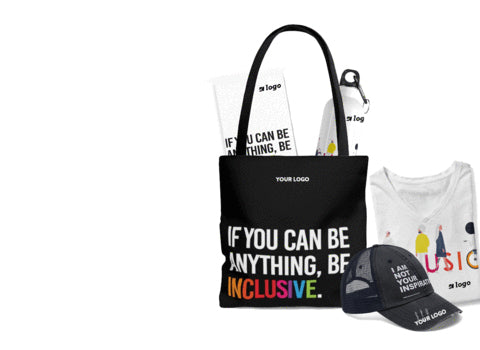 """Mix of unique diversity and inclusion promotional items (also known as diversity merchandise / disability awareness merchandise). Items feature URevolution """"Be Inclusive"""" range of products."""