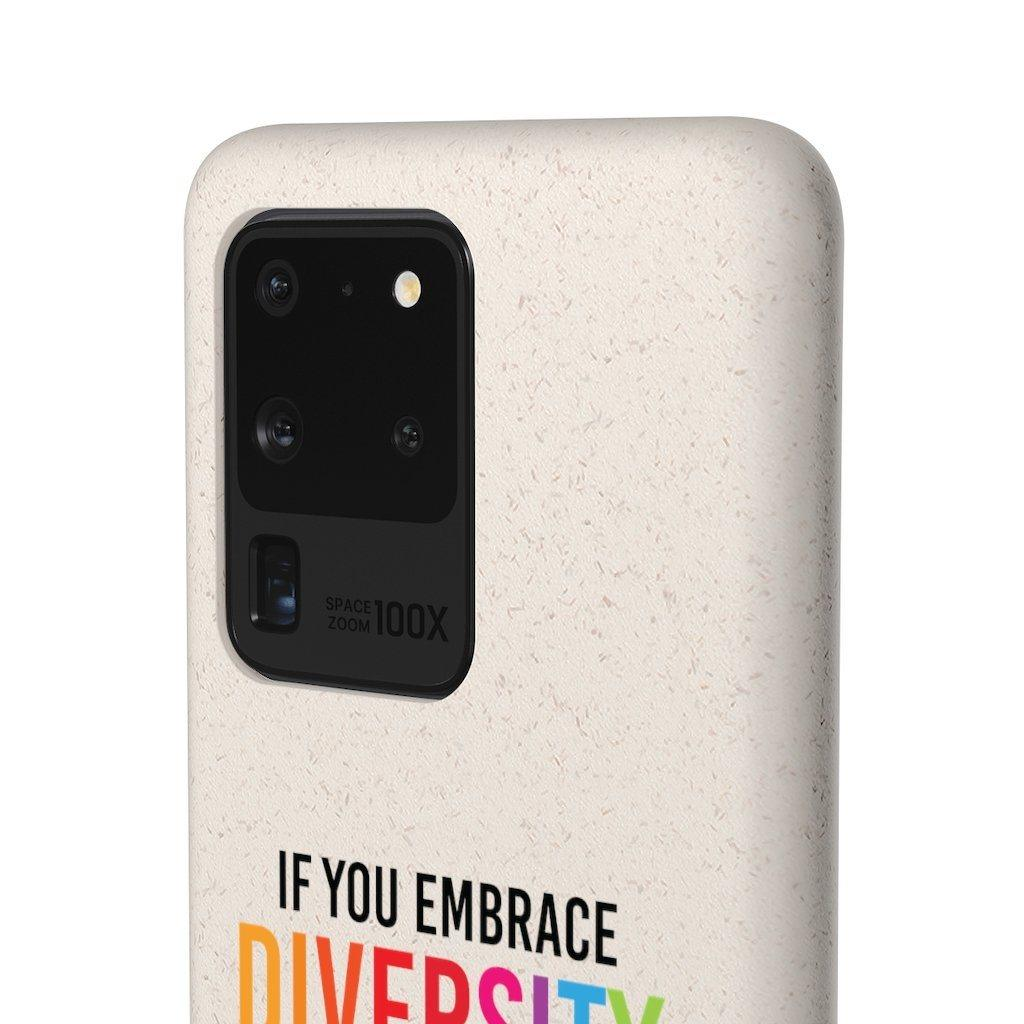"A close-up side angle view of the back of URevolution's biodegradable phone case. Printed in the middle of the case in upper case is the phrase ""If you embrace diversity, but ignore disability, you're doing it wrong."" The word diversity is in the colors of the rainbow. The phrase is partly cut off, with only the top half of the biodegradable phone case being visible."