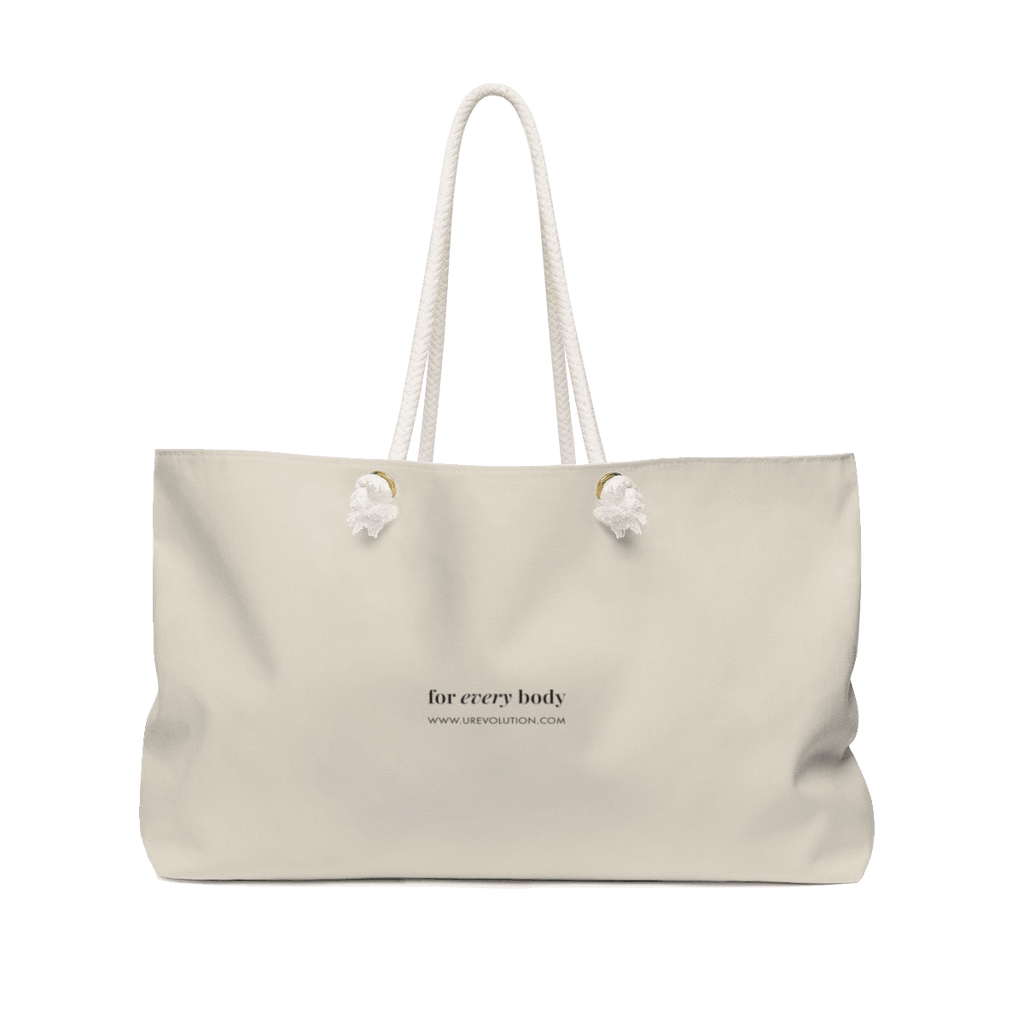 "Picture of an oversized weekender bag in every possible way. The bag has URevolution's original ""for every body"" phrase printed in black, with the word ""every' in italics. Under the words, printed in small text, is the URL; www.urevolution.com"