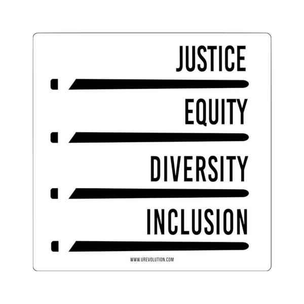 "A square white justice equity diversity inclusion sticker with four stylized horizontal black ""JEDI"" lightsabers. Above each sticker is one word: justice, equity, diversity, and inclusion in black upper case."
