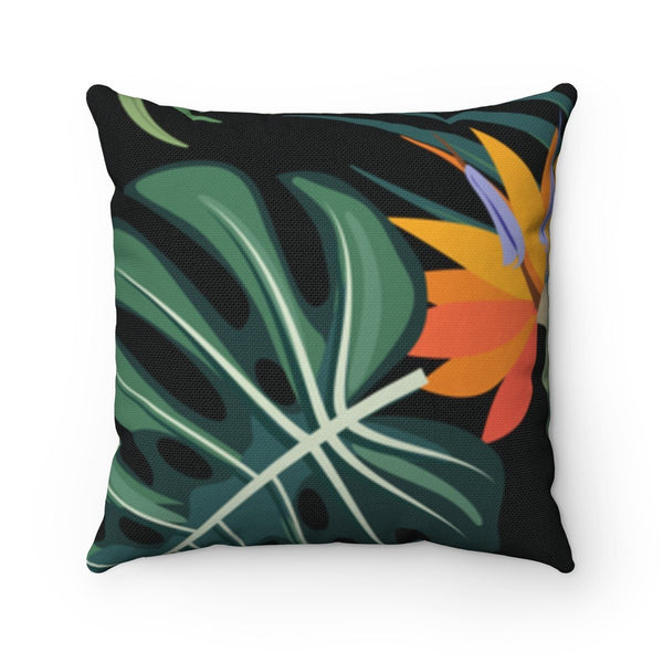 "Inclusive Square Pillow, Tropical-Home Decor-14"" x 14""-Uncomfortable Revolution-The cushion has a fabric pattern that is dark with lush green tropical leaves and orange flowers."