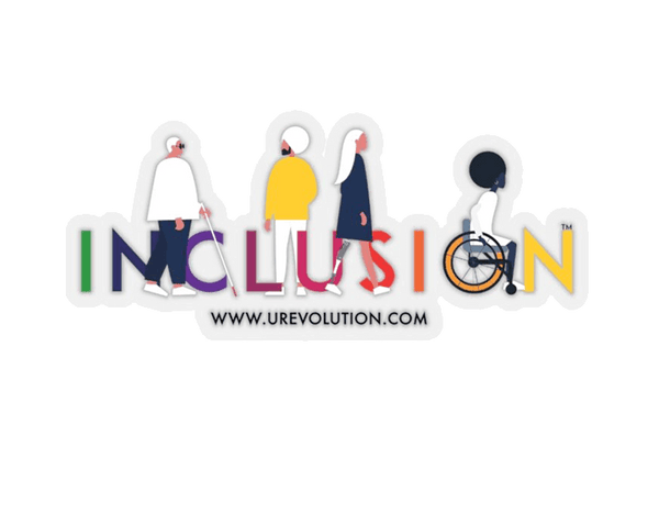 This is a photo of a transparent, kiss-cut diversity and inclusion sticker. The sticker features URevolution's iconic INCLUSION logo. The word INCLUSION is printed in large type in the colors of the rainbow. Four diverse disabled people are incorporated into the word INCLUSION. The URL - www.urevolution - is printed in black, in a small font, under the inclusion logo.  Edit alt text