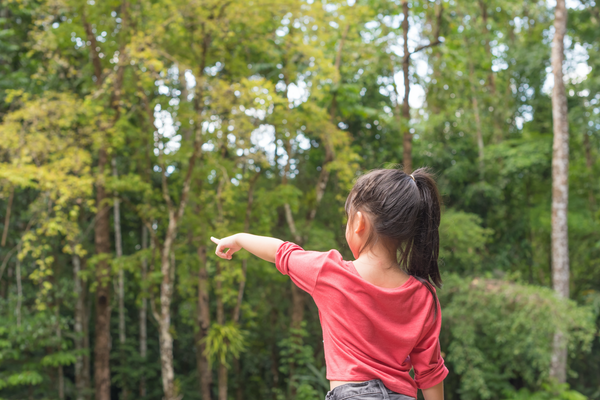 Young girl pointing at tree