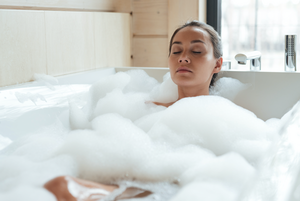 Lady having Bubble Bath
