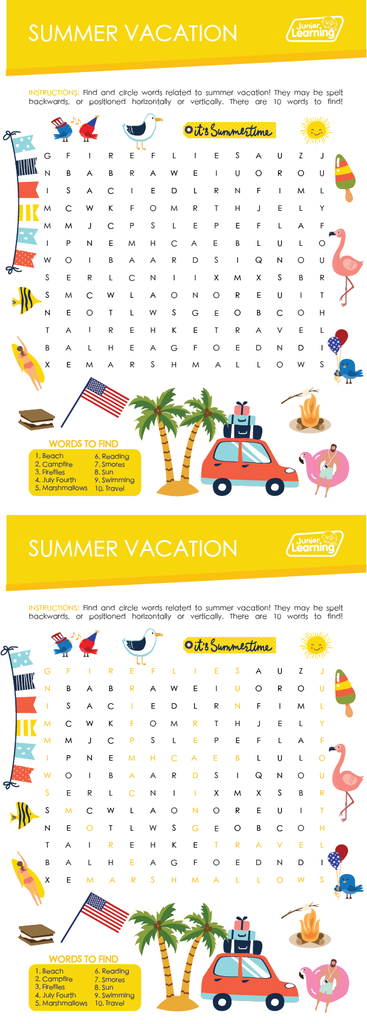 Summer Vacation Word Find Preview