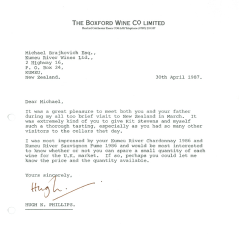 Letter from Boxford Wine Company in 1987 to Kumeu River marking the start of a 34 year partnership in the UK