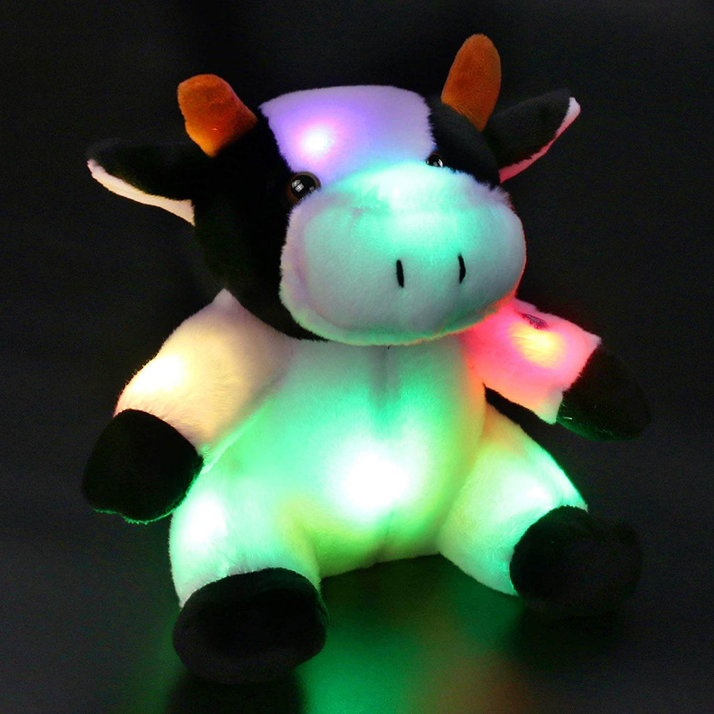 light up dairy stuffed cattle plush toy, 9'' | Bstaofy - Glow Guards