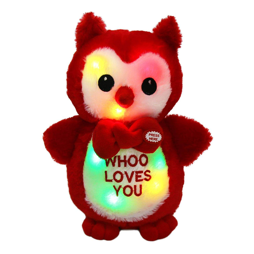 owl stuffed animal light up love plush toy, 9.5'', Red | Bstaofy - Glow Guards