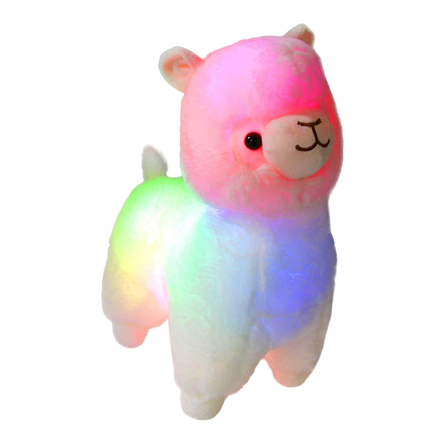 night light up llama rainbow soft toy, 14 inch | Bstaofy - Glow Guards
