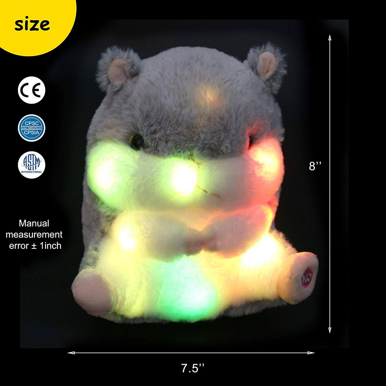 light up hamster glow mouse toy, 8'' | Bstaofy - Glow Guards