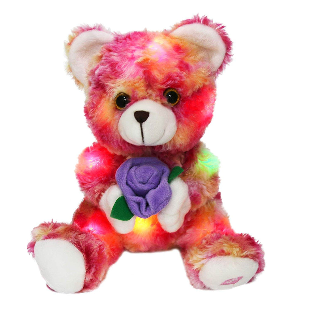 LED valentine teddy bear with rose, 9 Inch | Bstaofy - Glow Guards