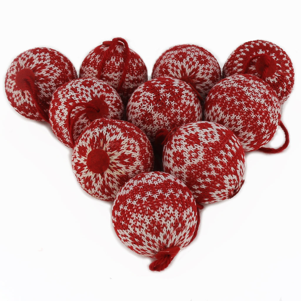 "2.75"" (70mm) knit Christmas ball ornaments,10 pcs 
