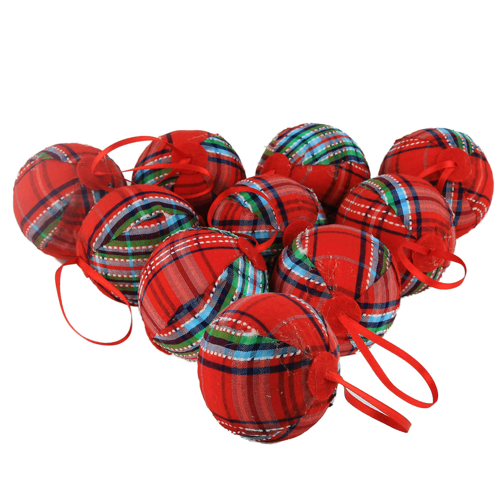 "2.36"" (60mm) red plaid Christmas balls ornaments, set of 10 