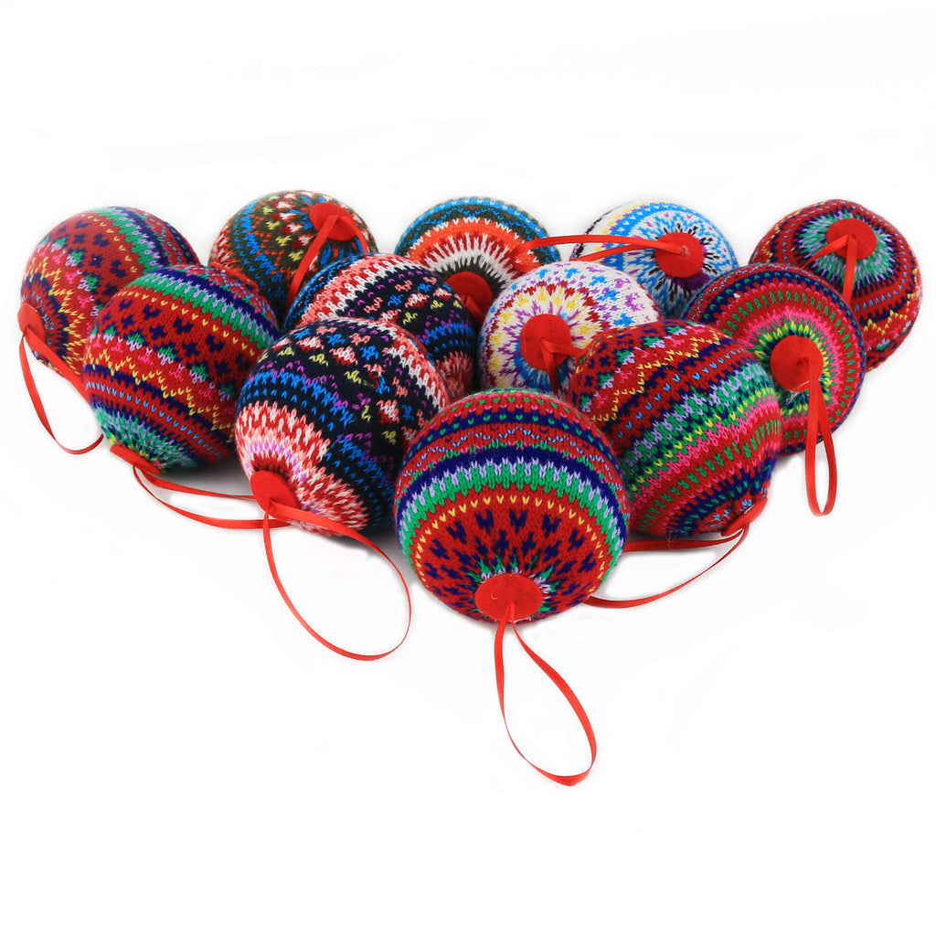 "2.95"" (75mm) knit Christmas balls ornaments 