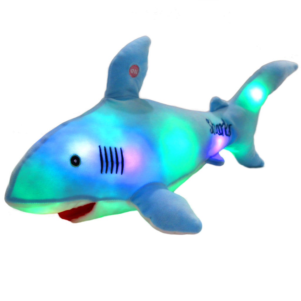 light up shark glow plush, 21.5'', Blue/Gray/Pink | Bstaofy - Glow Guards