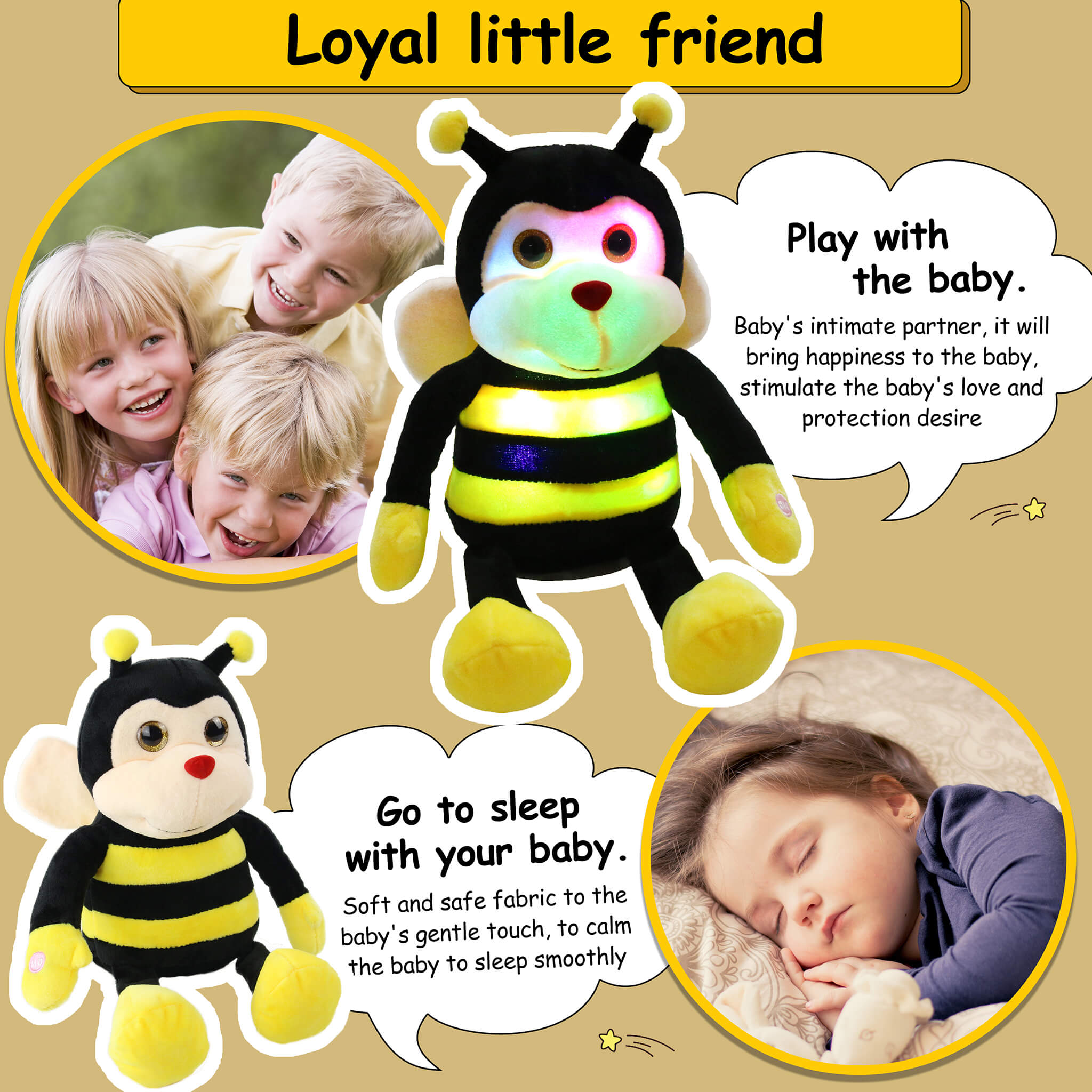 light up stuffed bumble bee plush toy, 10.5'' | Bstaofy - Glow Guards