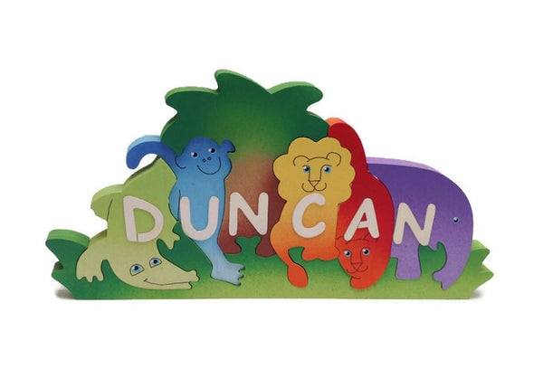 Jungle animal, personalised, educational name puzzle