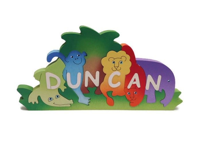 Jungle animal, personalised, educational name puzzle - Moo Like a Monkey