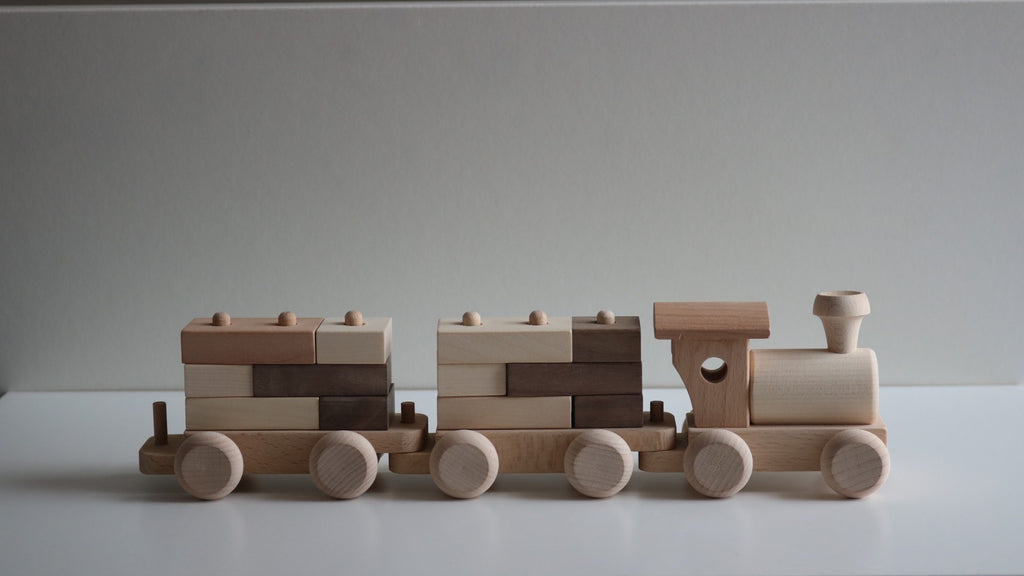 Wooden Train with Stacking Blocks